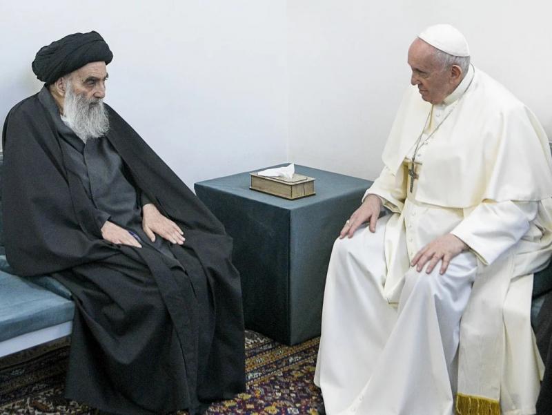 Рим Папаси Ироқ шиалари раҳнамоси билан учрашди