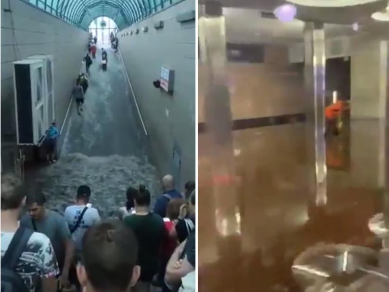 Kiyevda kuchli yomg'ir sabab ikkita metro stansiyasini suv bosdi (video)