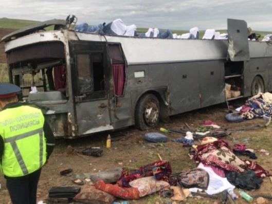 Олмаота-Тошкент йўлида ЙТҲга учраган автобус бўйича ТИВ маълумот берди