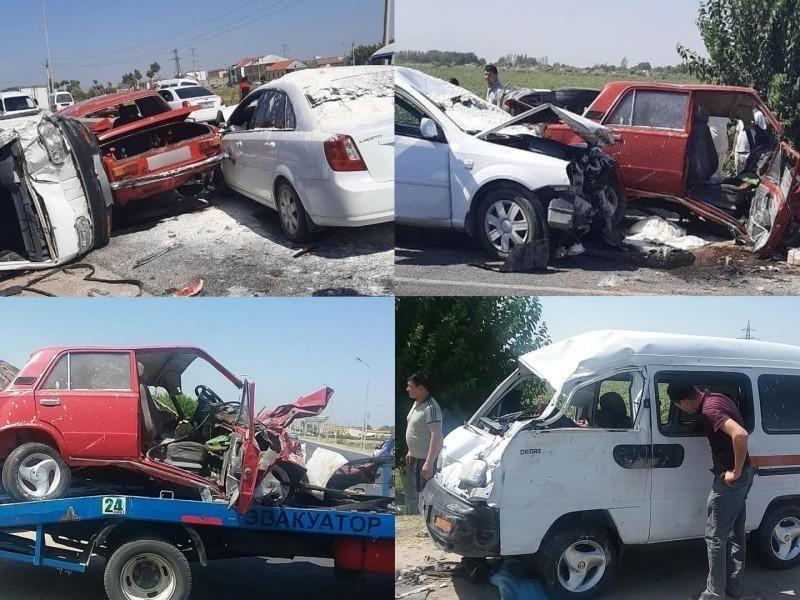 Samarqandda 4 ta avtomobil to'qnashdi