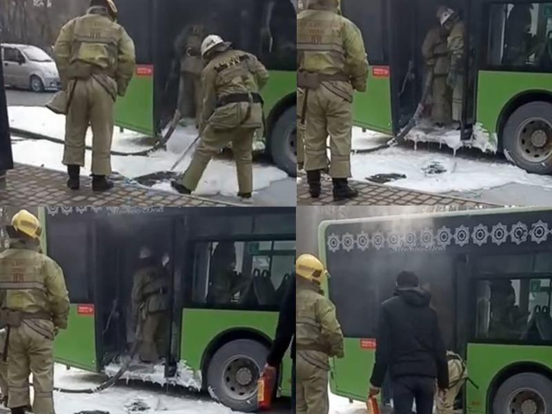 Тошкентда йўловчи ташувчи автобус ёниб кетди