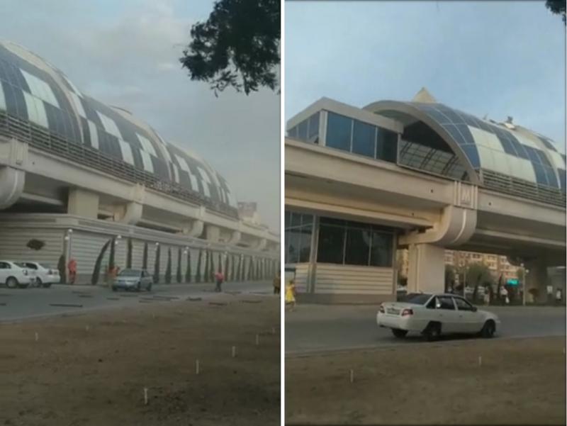 Тошкентда ерусти метро бекати томидаги қопламалар шамолда учиб тушди (видео)