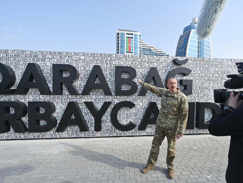 """""""Qorabog' – Ozarbayjon"""". Aliyev Bakudagi G'alaba parkiga bordi"""